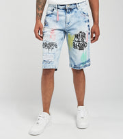 Create 2MRW  RNR Denim Shorts With Clear Paint  Blue - CS1712-IB | Jimmy Jazz