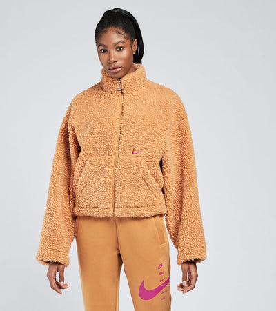 Nike  Womens NSW Swoosh Sherpa Jacket  Brown - CU6639-201 | Jimmy Jazz