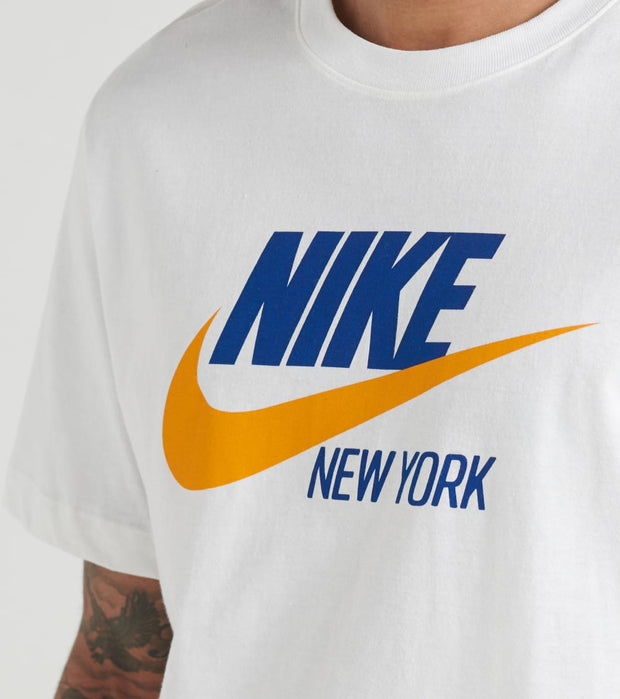 Details about Nike Mens L Blue and Orange Nike NYC Graphic Short Sleeve Shirt