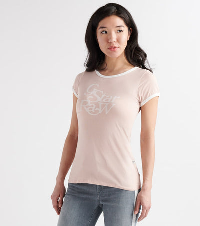G-Star  Graphic 19 Ringer Slim Tee  Pink - D1511441071628-LPK | Jimmy Jazz