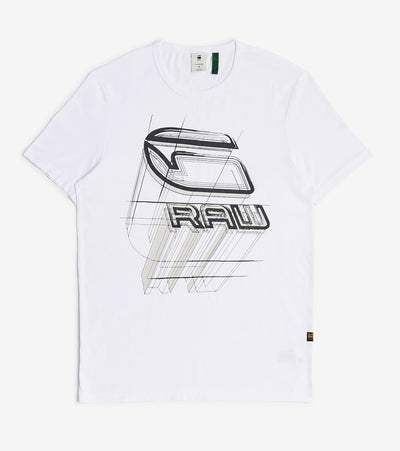 G-Star  Perspective Logo Slim Tee  White - D17103336110-WHT | Jimmy Jazz
