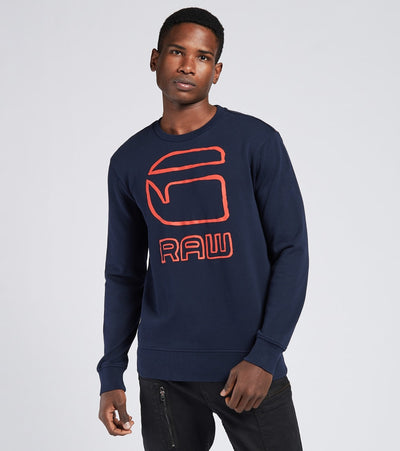 G-Star  Crewneck Logo Sweatshirt   Blue - D174939397-6067 | Jimmy Jazz