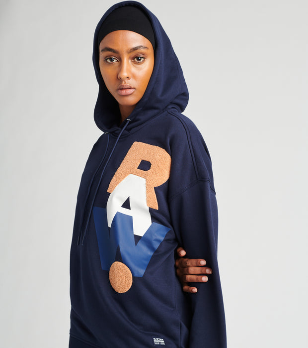 G-Star  Graphic Raw Oversized Hoodie  Blue - D17766A613-6067 | Jimmy Jazz