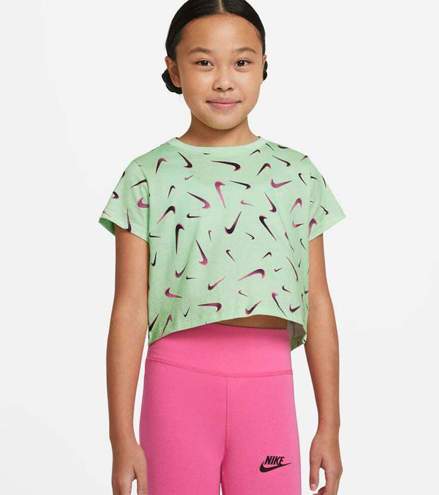 Nike  Girls NSW Swooshes Crop Tee  Green - DC7348-376 | Jimmy Jazz