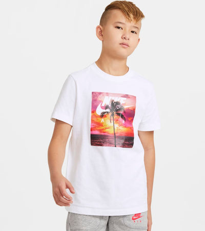 Nike  Boys NSW Air Photo Palm Short Sleeve Tee  White - DC7523-100 | Jimmy Jazz