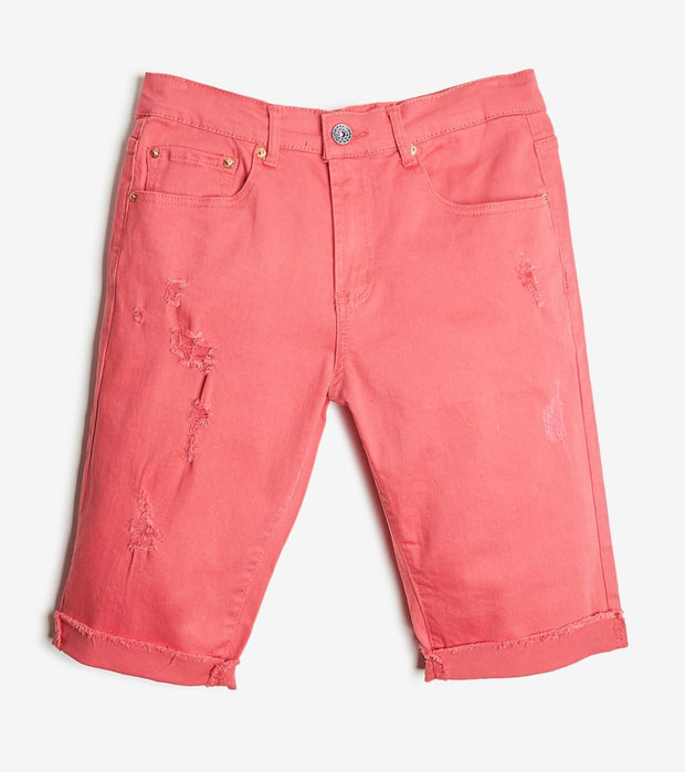 Decibel  5 Pocket Shorts With Ripped Edge  Red - DECWB221-COR | Jimmy Jazz