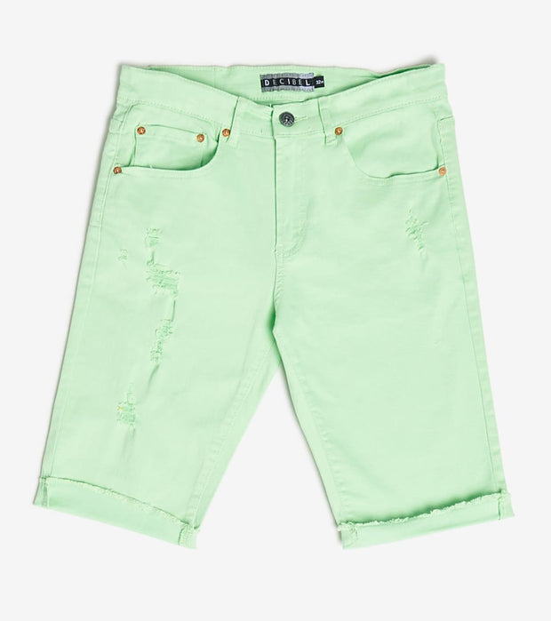 Decibel  5 Pocket Shorts With Ripped Edge  Green - DECWB221-LIM | Jimmy Jazz