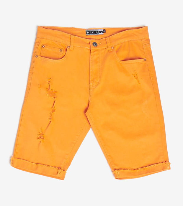Decibel  5 Pocket Shorts With Ripped Edge  Orange - DECWB221-ORG | Jimmy Jazz