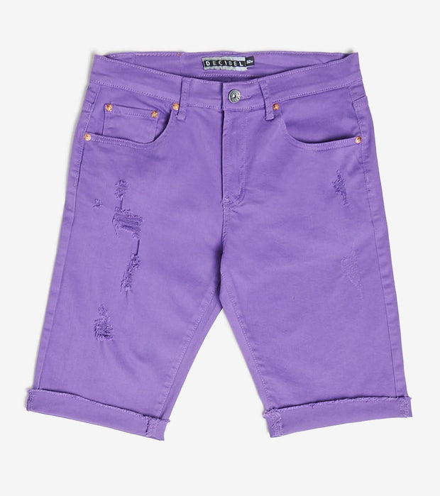Decibel  5 Pocket Shorts With Ripped Edge  Purple - DECWB221-PRP | Jimmy Jazz
