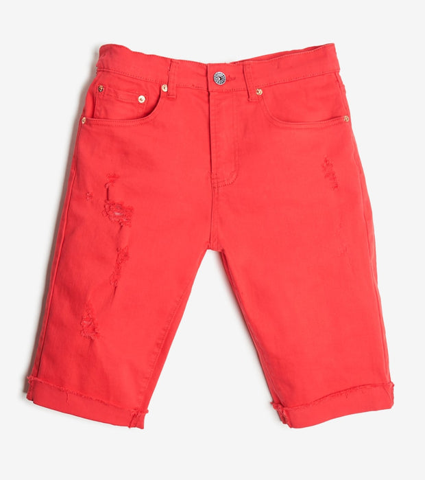 Decibel  5 Pocket Shorts With Ripped Edge  Red - DECWB221-RED | Jimmy Jazz