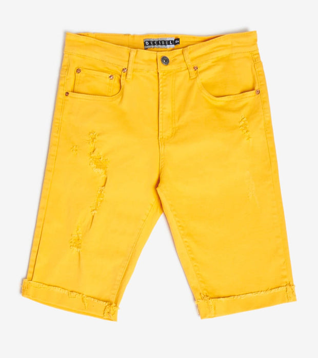 Decibel  5 Pocket Shorts With Ripped Edge  Yellow - DECWB221-YEL | Jimmy Jazz