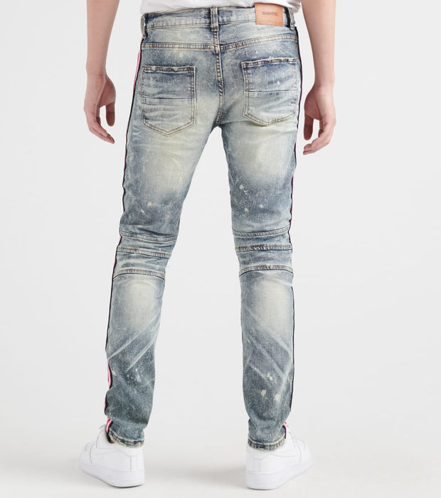 Decibel  Moto Jean With Pink Purple Taping  Blue - DECWB226-LTI | Jimmy Jazz