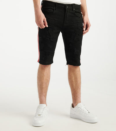 Decibel  Side Stripe Moto Shorts With Tape  Black - DECWB232-BLK | Jimmy Jazz