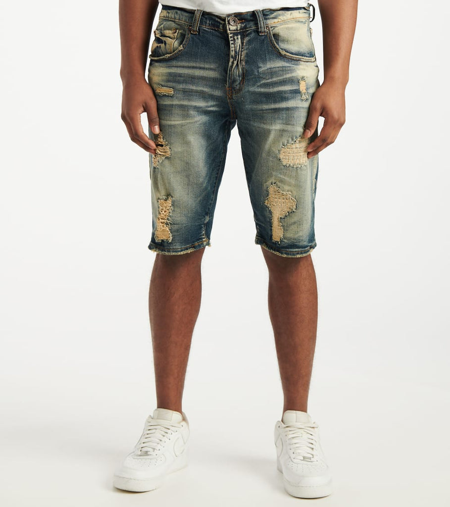 Decibel  Distressed 5 Pocket Shorts  Blue - DECWB234-DKI | Jimmy Jazz