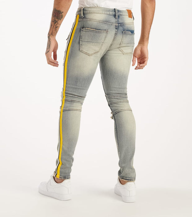 Decibel  Moto Jeans With Rips & Yellow Taping  Blue - DECWB236-IND | Jimmy Jazz