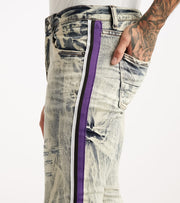 Decibel  5 Pocket Jean With Purple Taping  Blue - DECWB237-IND | Jimmy Jazz