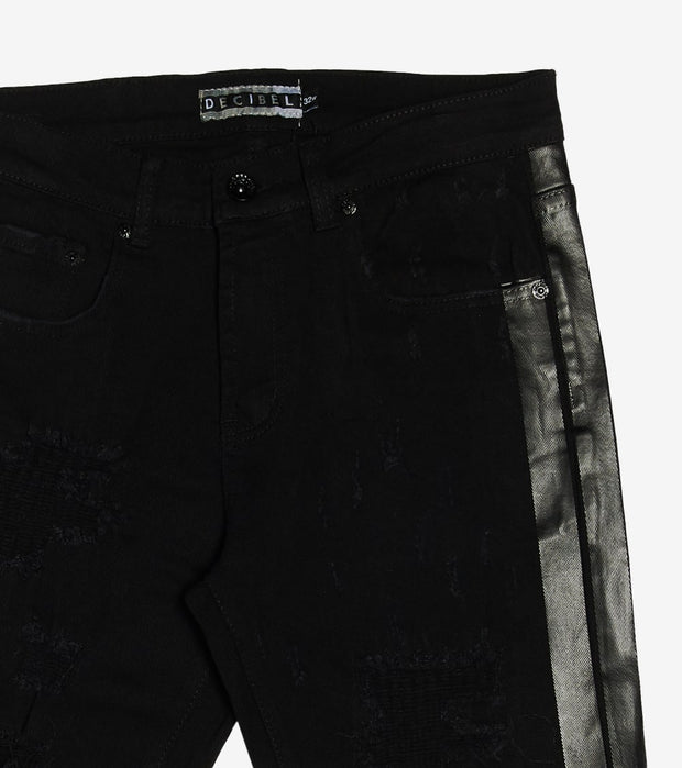 Decibel  Black Print Side Tape Jean Short  Black - DECWB241-BLK | Jimmy Jazz