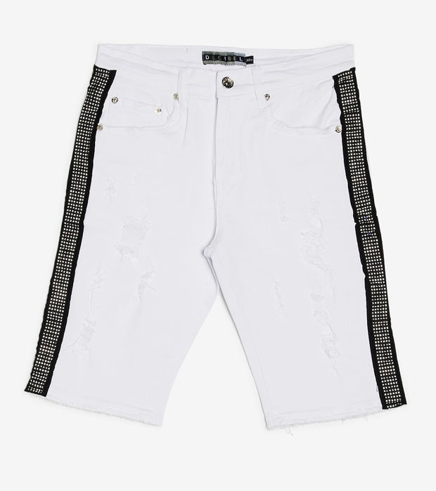 Decibel  Denim Shorts With Side Rhinestone  White - DECWB245-WTC | Jimmy Jazz