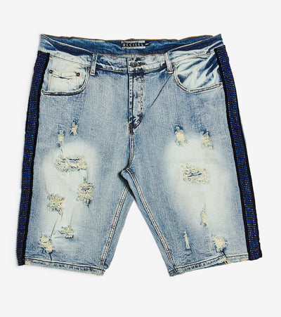 Decibel  Denim Shorts With Side Rhinestone  Blue - DECWB254-INB | Jimmy Jazz