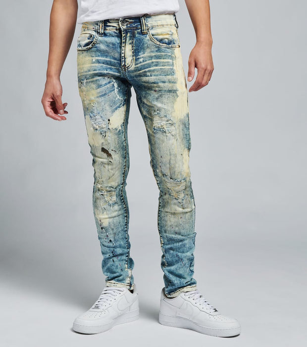 Decibel  5 Pocket Bleached Jeans L32  Blue - DECWB258-IND | Jimmy Jazz