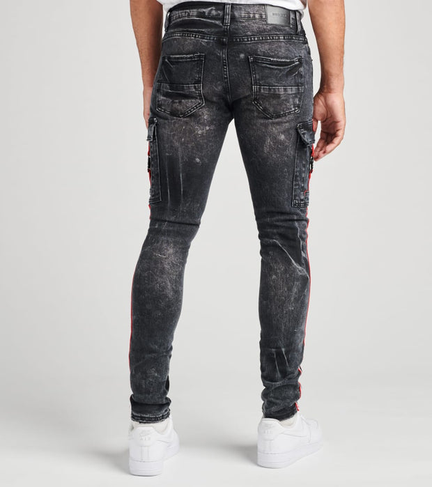 Decibel  Cargo Pocket Jeans With Side Tape L32  Black - DECWB272-BLK | Jimmy Jazz