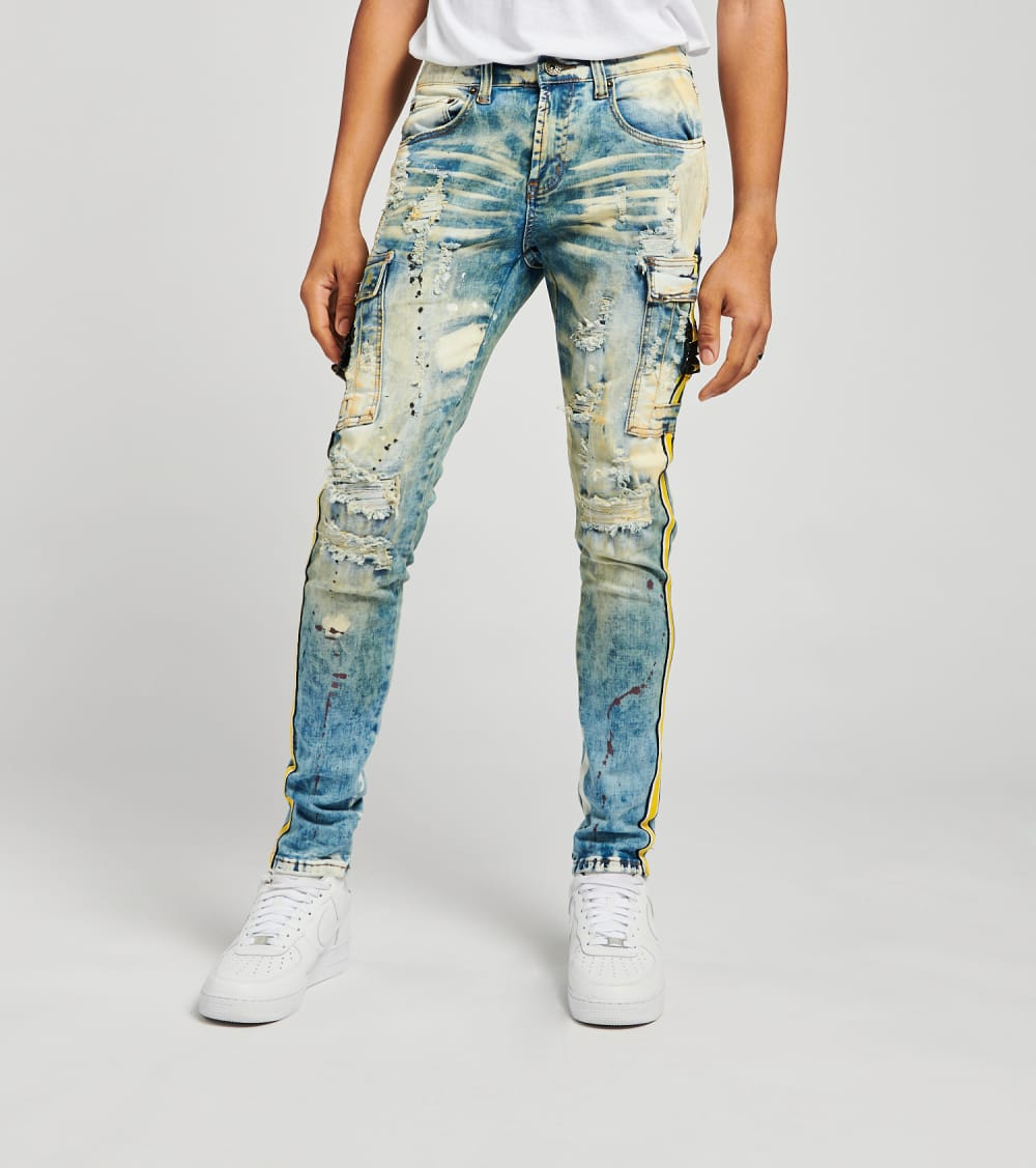 Cargo Pocket Jeans With Side Taping L32