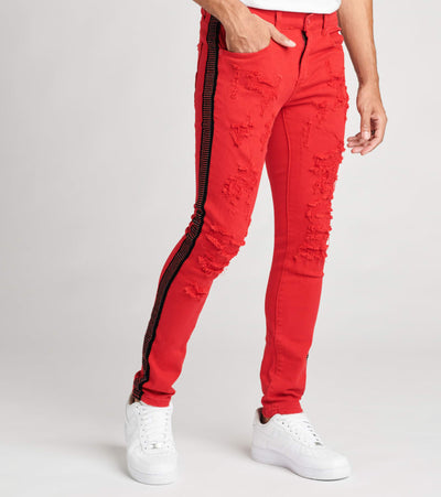 Decibel  5 Pocket Jeans With Crystal Taping L32  Red - DECWB275-RED | Jimmy Jazz