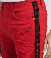 Decibel  Crystal Side Denim Moto Shorts  Red - DECWB288-RED | Jimmy Jazz
