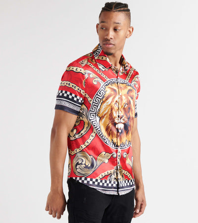 Decibel  Lion n Chain Button-Down Shirt  Red - DECWT060-RED | Jimmy Jazz