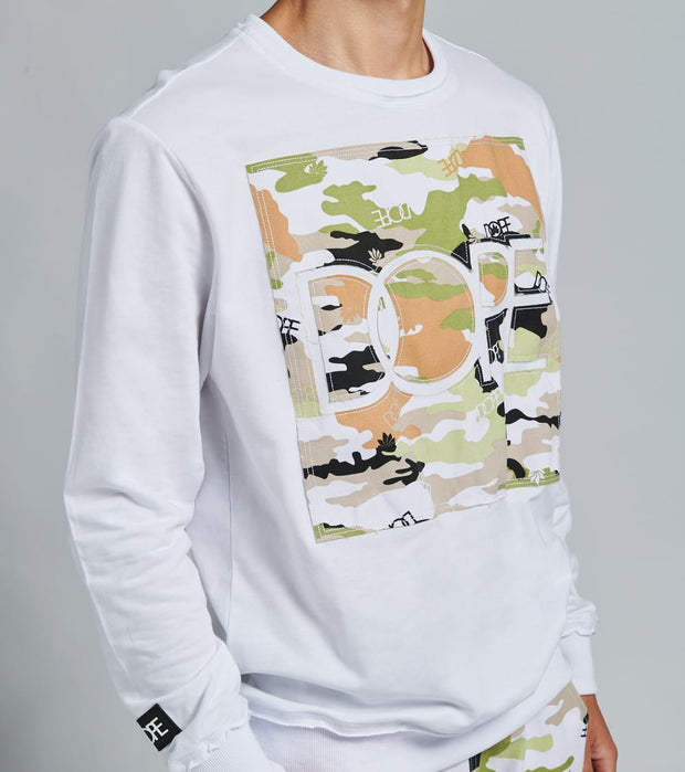Dope  Camo Long Sleeve Crew  White - DPMSP2004-WHT | Jimmy Jazz