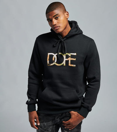 Dope  Camo Down Hoodie  Black - DPMSP2029B-BLK | Jimmy Jazz