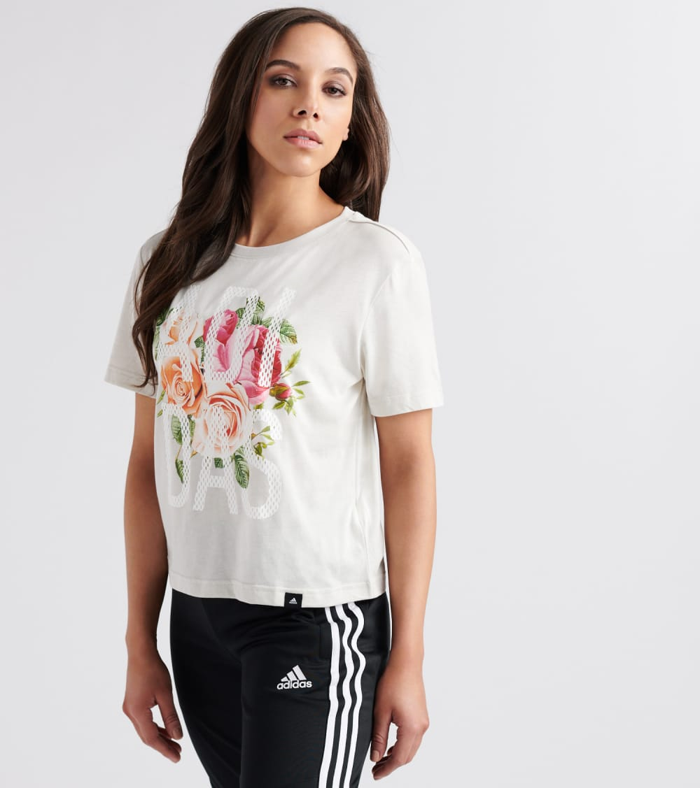 Adidas  Floral Scoop Tee  Beige - DV0536-113 | Jimmy Jazz