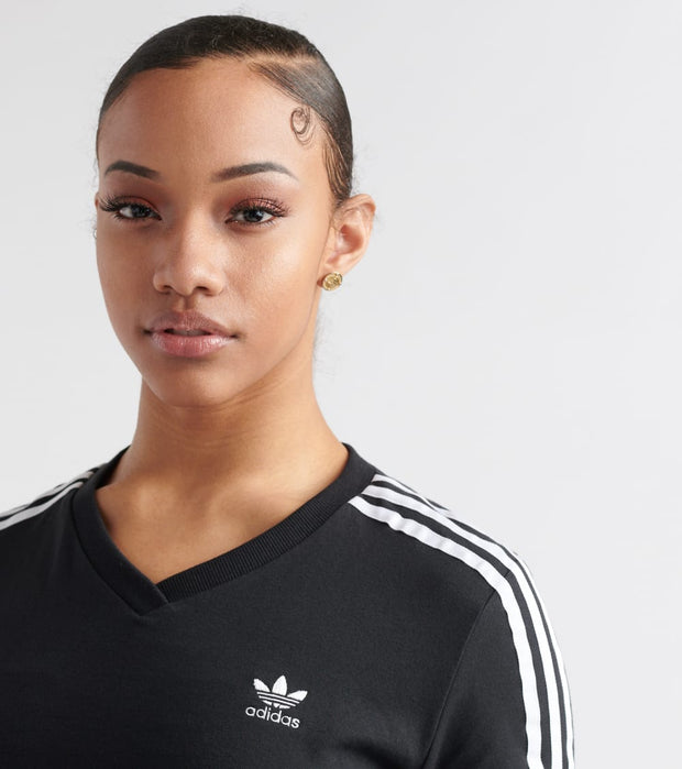 Adidas  Cropped 3-Stripes Tee  Black - DV2622-001 | Jimmy Jazz