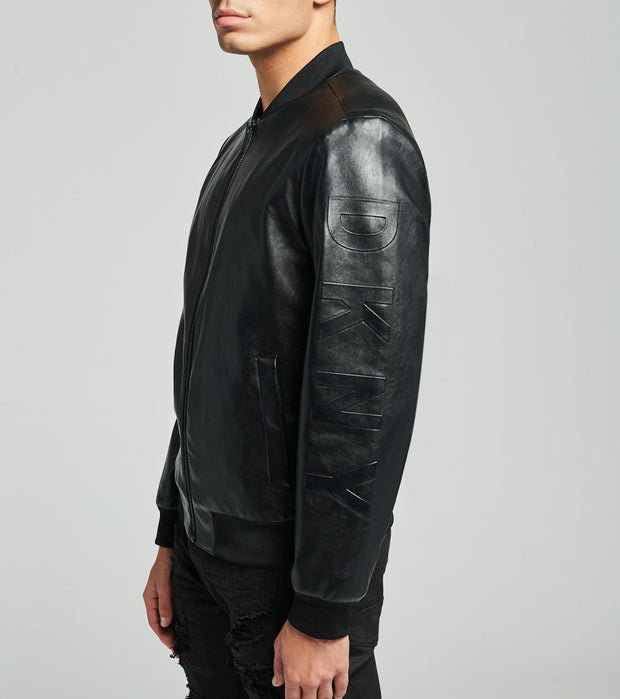 DKNY  Faux Leather Bomber Jacket  Black - DX0MU571-BLK | Jimmy Jazz