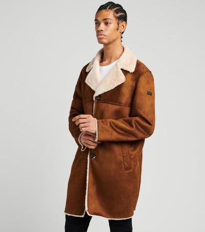 DKNY  Faux Shearling Full Coat  Brown - DX9MS842-BWN | Jimmy Jazz