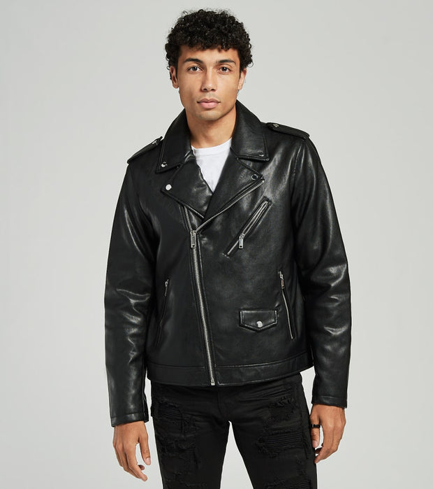 DKNY  Faux Leather Moto Jacket  Black - DX9MU917-BLK | Jimmy Jazz