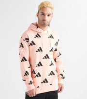 Adidas  All Over Print Pullover Hoodie  Pink - EI6236-685 | Jimmy Jazz