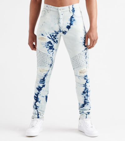Embellish  Turkish Basket Weave Biker Jeans  Blue - EMBF17107-BBL | Jimmy Jazz
