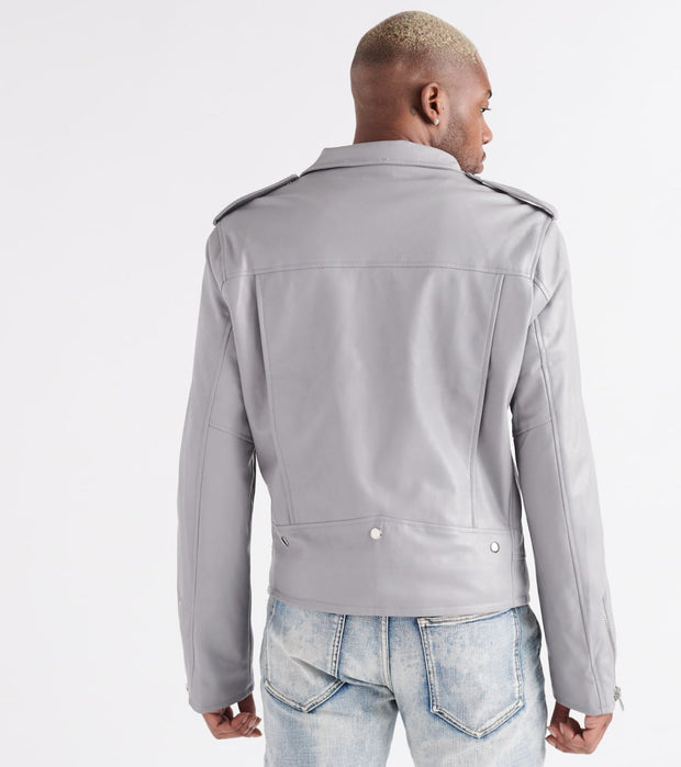 Embellish  Manson Moto Leather Jacket  Grey - EMBH1643-GRY | Jimmy Jazz