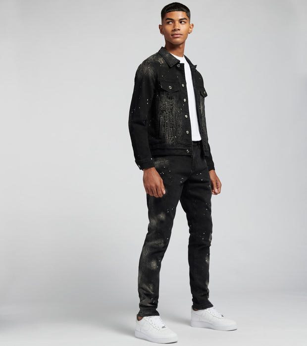 Embellish  Quaker Denim Jacket  Black - EMBSP219-206 | Jimmy Jazz