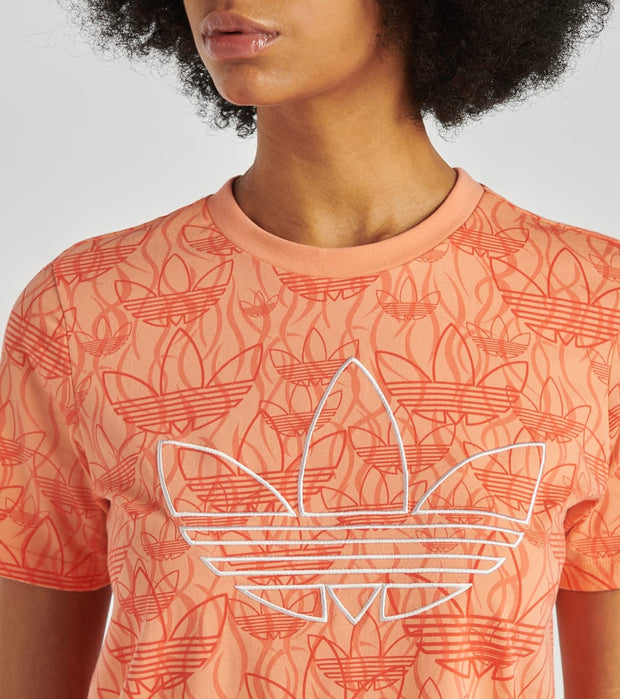 Adidas  All Over Print Crop Top  Pink - FM1941-837 | Jimmy Jazz