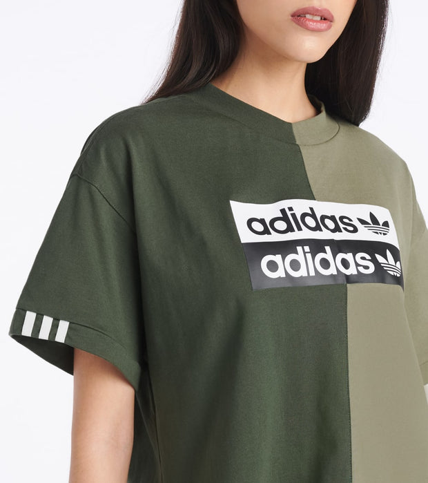 Adidas  Raise Your Voice Colorblock Crop Tee  Green - FM2474-308 | Jimmy Jazz
