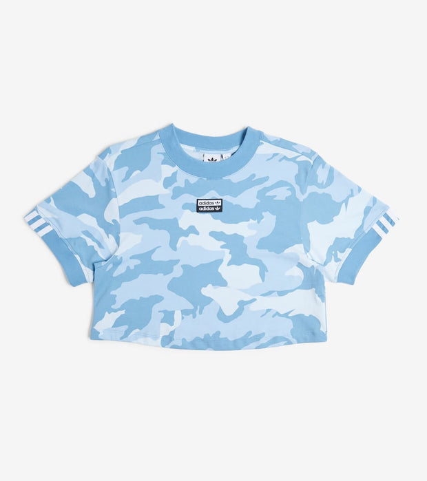 Adidas  Blue Cloud Camo Crop Tee  Blue - FM2492-457 | Jimmy Jazz
