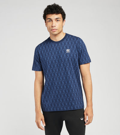 Adidas  Mono All Over Print Short Sleeve Tee  Blue - FM3422-400 | Jimmy Jazz