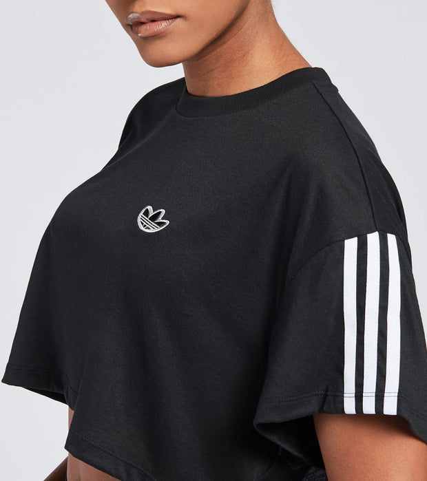Adidas  Cropped Short Sleeve Tee  Black - FU3831-001 | Jimmy Jazz