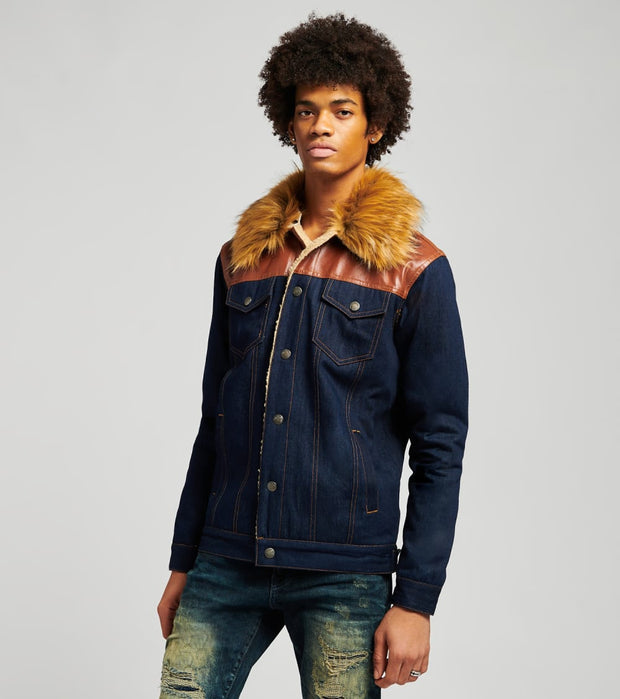 Decibel  Fur Denim Jacket  Blue - FW120942-IND | Jimmy Jazz