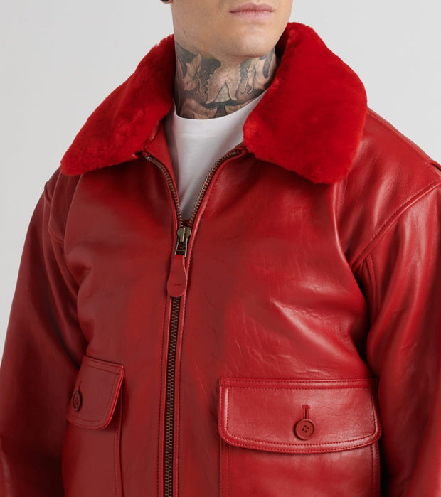 Schott  Lambskin Wings Of Gold Flight Jacket  Red - G1SC-RED | Jimmy Jazz