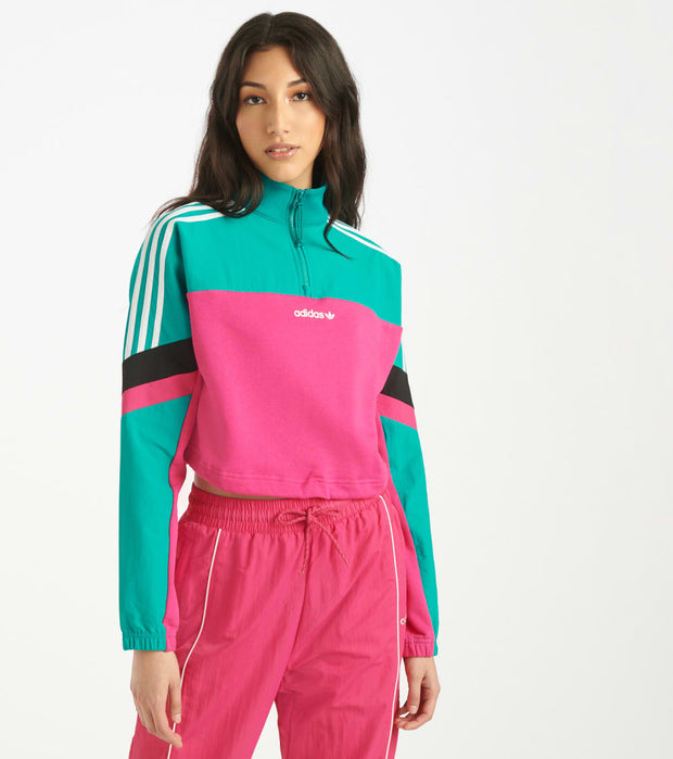 Adidas  Half Zip Crop Top  Green - GC8777-677 | Jimmy Jazz