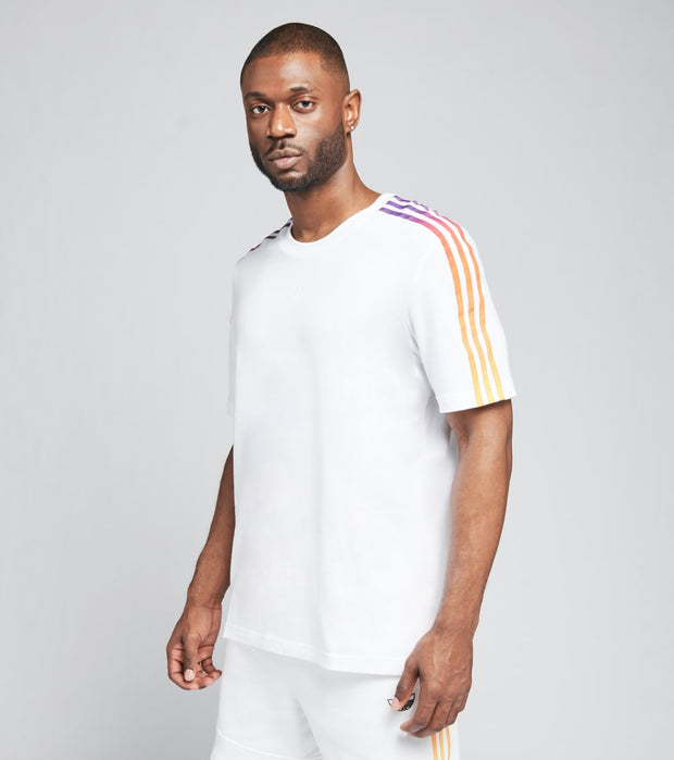 Adidas  Spirit 3 Stripe Short Sleeve Tee  White - GN2418-100 | Jimmy Jazz