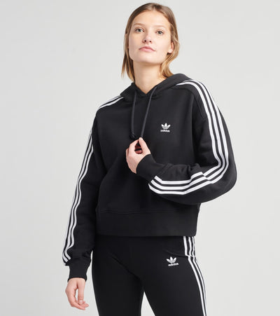 Adidas  3 Stripes Short Hoodie  Black - GN2890-001 | Jimmy Jazz